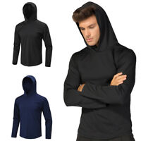 Mens Sports Hoodie Hooded Workout Gym Training Tops Breathable Long Sleeve Shirt