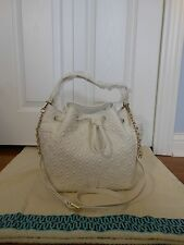 NWT Tory Burch $550 Marion Quilted Leather Bucket Shoulder Bag, New Ivory