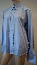YVES SAINT LAURENT Menswear Blue White 100% Cotton Striped Formal Shirt 39/15.5