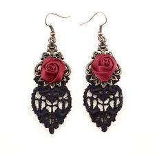 Red Rose and Black Lace Gothic Earrings Perfect Halloween Jewellery