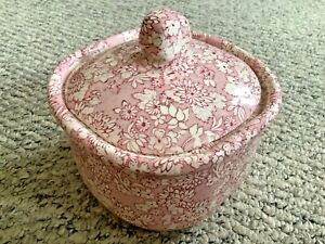 RARE Vintage St Michael M&S Victoriana Lidded Pot Dressing Table Pink & White