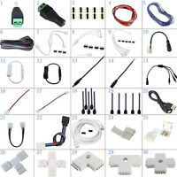 5050 3528 2835 5630 LED Light Strips Connector Adapter Cable Clip Solderless USB