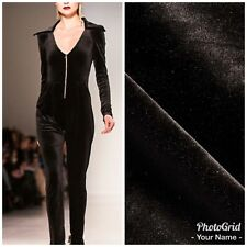 SALE!!! Close-Out Designer Runway Stretch Black Velvet Fabric By the yard