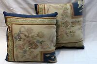 Tapestry Pair of Handmade Pillow of Aubusson rug Beige, Tea Green, Steel Blue