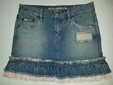 Womens mudd jeans denim pink floral bottom flare skirt sz 1
