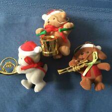Avon Merry Marchers 3 Christmas Ornaments: teddy/drum, kitty/horn, puppy 00004000 /trumpet