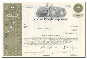 Schering-Plough Corporation Stock Certificate (Claritin, Coppertone Sunscreen)