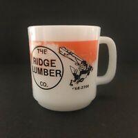 Vintage The Ridge Lumber Co Glasbake Handled Mug Baltimore MD Orioles Baseball