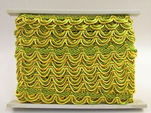 """Conso Trimmings Decorative Textile Trim Gold and Green 1.25"""" x 10 Yds H047"""