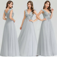 Ever-Pretty Mesh V-Neck Long Evening Party Dresses Cocktail Bridesmaid Ball Gown