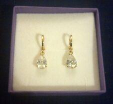 N05 Gold filled huggie hoop drop dangle earrings Swarovski elements Plum UK BOXD