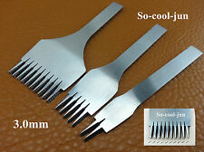 3mm French Style leather Craft Stitch Lacing Punch Chisel Tool Kit 2+5+10 Prong