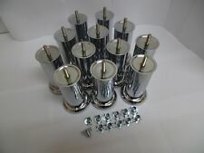 12x quality chrome legs for sofa settee chair foot stools (120mm X 50mm)