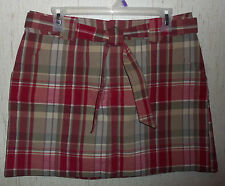 NEW! WOMENS ST. JOHN'S BAY petite stretch BURGUNDY PLAID SKORT  SIZE 12P