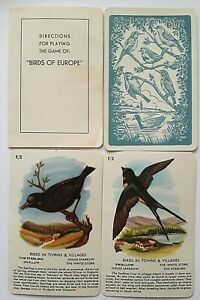 VINTAGE PLAYING CARDS CARD GAME BIRDS OF EUROPE 36 LARGE CARDS RULES & BOX 1950
