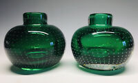 Pair of Mid-Century Modern Sommerso Emerald Green Bubble Vases Carl Erickson