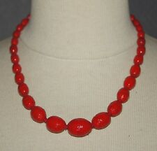 collier ancien ras de cou en pâte de verre rouge vintage