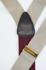 Trafalgar Solid Tan Grosgrain Button Suspenders Braces Black Leather Brass