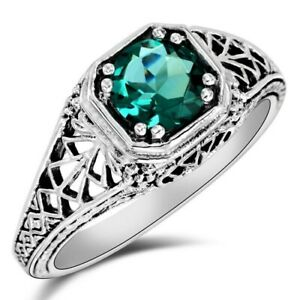 1CT Apatite 925 Sterling Silver Art Deco Style Ring Jewelry Sz 7, WF4