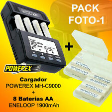 Pack OFERTA FOTO 1 - Cargador POWEREX MH-C9000 + 8 Baterías Eneloop 1900mAh