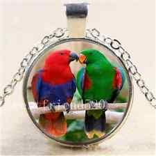 Beautiful Parrot Love Cabochon Glass Tibet Silver Chain Pendant Necklace