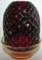 Antique Ruby Stained Fairy Lamp Inverted Diamond Dome with Delicate Amber Base