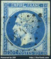 FRANCE EMPIRE N° 14Ad BLEU SUR VERT AVEC OBLITERATION PC COTE 180€