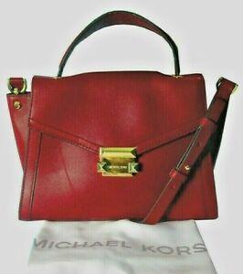 MICHAEL Michael Kors Polished Leather Handle Satchel Maroon/Gold Msrp.$299.00