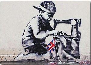 Banksy Child Labour Boy Sewing Union Jack fridge magnet (2f)