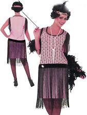 20sGatsby 1920's Flapper Dress Cocktail Pink Charleston Black Fringed Plus Size