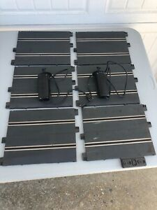 LOT OF EIGHT ELDON 1/24 SCALE PROFESSIONAL HOME SLOT CAR TRACK STRAIGHTS & POWER