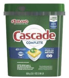 Cascade Complete Actionpacs Dishwasher Detergent, Lemon Scent, 63 Count