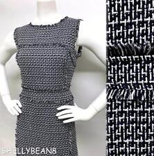 TORY BURCH PETULA Tweed Sleeveless CLASSIC Sheath Dress FRINGE Edges 4 6 S $425