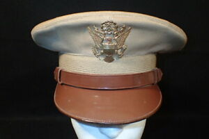 WWII US Army AAF Officers' Service Visor Hat Khaki 'Berkshire Cap Co' Original 7