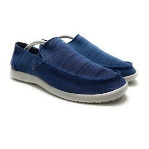 Crocs Men's Santa Cruz Downtime Navy Pearl White Slip On Shoes Sizes 9 - 11 M