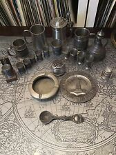 COLLECTION OF RARE GERMAN, BRITISH, MALAYSIAN PEWTER - CUPS, TANKARDS, PLATES