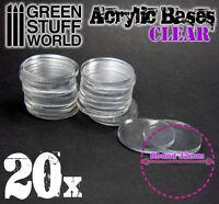 20x Socles Acryliques ROND 32mm TRANSPARENT - Modelisme Figurines Bases Wargames
