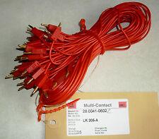 2 Stück 0,65 m Multi-Contact Messleitung / 2 x Lamellenstecker 2 mm rot LK205