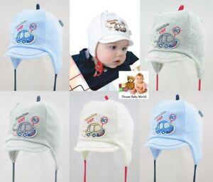 SALE RICH Cotton boys hat autumn with lining 6-12 months  BABY Tie up KIDS CAP