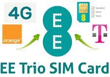 EE Pay As You Go Triple Cut Sim Card 4G - £15 Data Pack, 4GB Data, 250 Mins