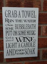 shabby & chic vintage bathroom grab a towel wine candle music relax sign 12x8