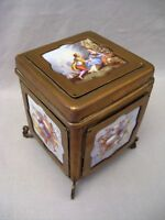 ancienne boîte en laiton et porcelaine époque napoléon III