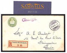 MS2136 1897 SWITZERLAND *Charge* Registered *Luzern-Briefaufgabe* 25c Stationery