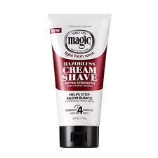 Magic Light Fresh Scent Razorless Cream Shave For Coarse Beard 6oz -Extra