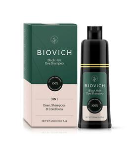BIOVICH Instant Black Hair Dye Shampoo 250ml – UK SELLER – SAME-DAY DISPATCH