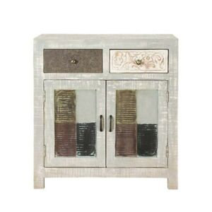 Made to Order Vivid Indian Mango Wood 2 Drawer Small Buffet Cabinet White