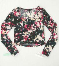 Aqua Willow Ponte Crop Top Printed Floral Multi XS $68 8756 BM8