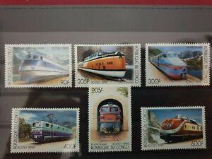 Republique de Congo  - 1999 - trains - 5 stamps  - MNH