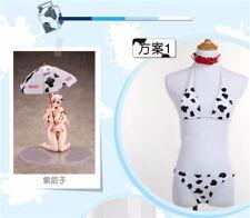 SUPER SONICO Cosplay Cow Bikini Swimsuit Set SUKUMIZU Swimwear + Neck Accessory