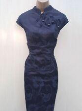 Karen Millen Black Floral Jacquard Geisha Oriental Chinese Races Wiggle Dress 12